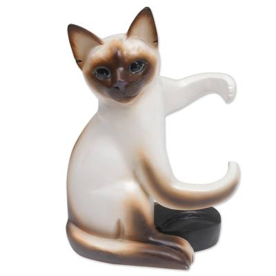 Handcrafted Wood Siamese Cat Wine Holder from Bali