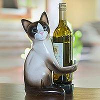 Wood wine holder, 'Cat Hug' - Artisan Handcrafted Wood Cat Wine Holder from Bali