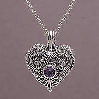 Amethyst heart locket necklace, 'Love Memento' - Heart Shaped Sterling Silver and Amethyst Locket Necklace