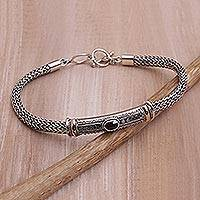Gold accent garnet pendant bracelet,