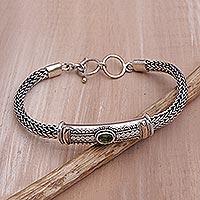 Gold accent peridot pendant bracelet,