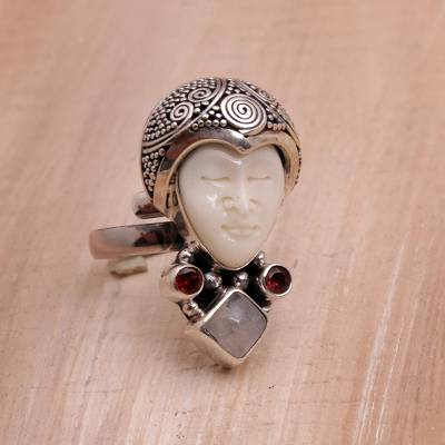 silver anniversary rings for couples - Rainbow Moonstone and Garnet Face Shaped Ring from Bali