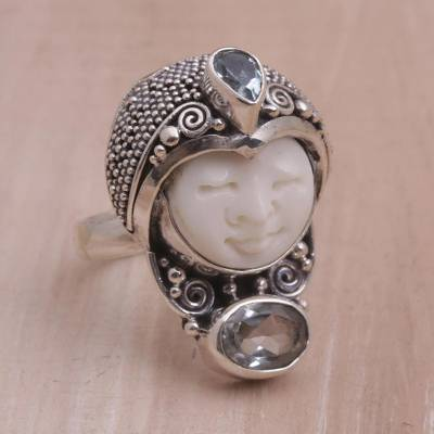 new silver springs diner - Blue Topaz and 925 Silver Face Shaped Ring from Bali