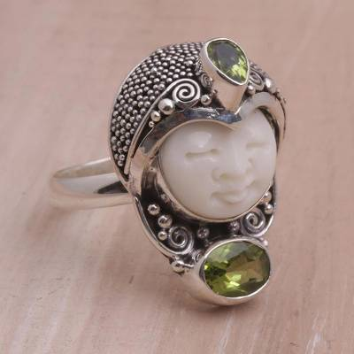 engraved rings pakistan - Peridot and 925 Silver Face Shaped Cocktail Ring from Bali