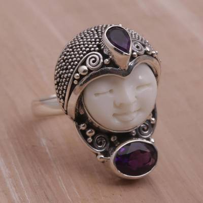 silver necklace amazon - Amethyst and 925 Silver Face Shaped Ring from Bali