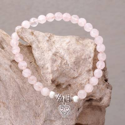 Rose quartz beaded bracelet, 'Sentimental Charm' - Rose Quartz 925 Silver Heart Charm Bracelet from Bali