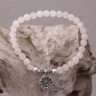 Rose quartz beaded stretch bracelet, Lotus View