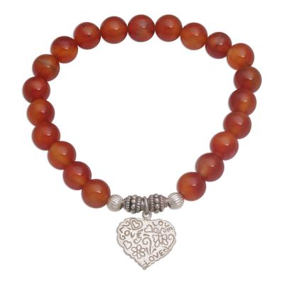 Red Carnelian Heart Charm Beaded Bracelet from Bali