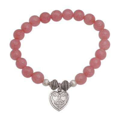 Pink Agate and Heart Charm Beaded Bracelet from Bali