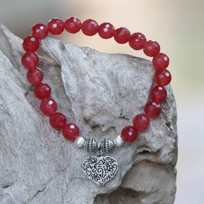 Agate beaded stretch bracelet, 'Loving Fantasy' - Red Agate and Heart Charm Beaded Bracelet from Bali