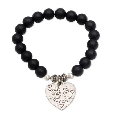 Black Onyx and Heart Charm Beaded Bracelet from Bali