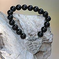 Onyx beaded stretch bracelet, 'Path of Love' - Shining Onyx and 925 Silver Beaded Heart Bracelet from Bali