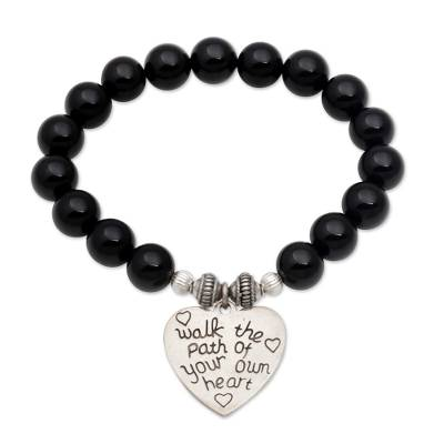 Onyx and 925 Silver Beaded Heart Stretch Bracelet from Bali