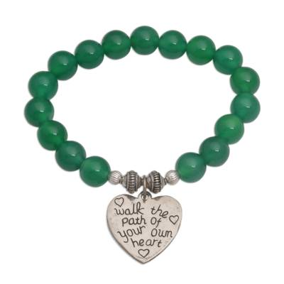 Green Agate and Heart Charm Beaded Bracelet from Bali