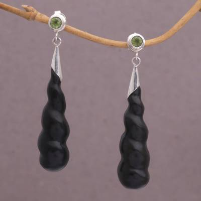 Wood and peridot dangle earrings, 'Midnight Cocoon' - Indonesian Hand-made Arang Wood and Peridot Dangle Earrings