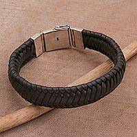 Leather wristband bracelet, 'Kintamani Weave in Black' - Braided Leather Wristband Bracelet in Black from Bali