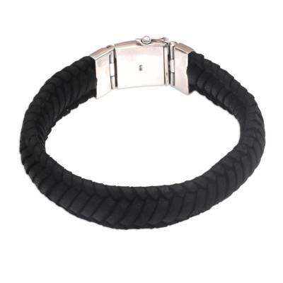 Braided Leather Wristband Bracelet in Black from Bali
