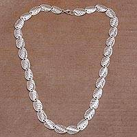 Sterling silver link necklace, 'Sanur Shells' - Sterling Silver Shell Motif Link Necklace from Bali