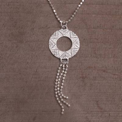 Sterling silver pendant necklace, 'Kartika Circle' - Sterling Silver Circular Pendant Necklace from Bali