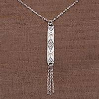 Sterling silver pendant necklace, 'Jadis Memories' - Sterling Silver Diamond Motif Pendant Necklace from Bali