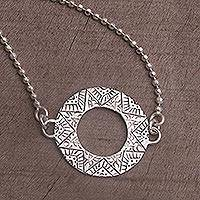 Sterling silver pendant necklace, 'Round Kartika' - Sterling Silver Circular Pendant Necklace from Bali