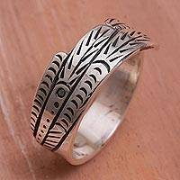 Sterling silver band ring, 'Peafowl Feather' - Sterling Silver Feather Motif Band Ring from Bali