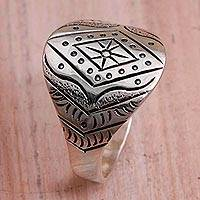Sterling silver band ring, 'Eye of the Horizon' - Sterling Silver Diamond Motif Band Ring from Bali