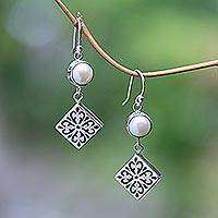 Cultured pearl dangle earrings, 'Square Dance' - Cultured Pearl and Sterling Silver Dangle Earrings from Bali