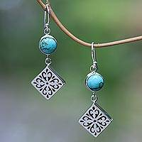 Turquoise dangle earrings, 'Square Dance' - Turquoise and Sterling Silver Dangle Earrings from Bali