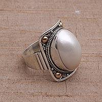 Gold accent cultured mabe pearl dome ring, 'Palace of Moonlight' - Gold Accent Cultured Mabe Pearl Dome Ring from Bali