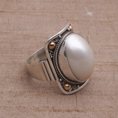cheap ring insurance - Gold Accent Cultured Mabe Pearl Dome Ring from Bali