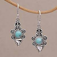 Turquoise dangle earrings, 'Temple Leaves' - Turquoise and Sterling Silver Dangle Earrings from Bali