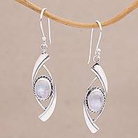 Rainbow moonstone dangle earrings, 'The Beyond' - Artisan Crafted Rainbow Moonstone and 925 Silver Earrings