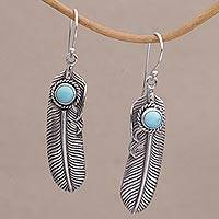 Turquoise dangle earrings, 'Turquoise Transcendence' - Turquoise and 925 Silver Feather Dangle Earrings from Bali