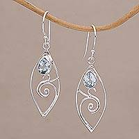 Blue topaz dangle earrings, 'Natural Swirl' - Blue Topaz and Sterling Silver Swirl Motif Dangle Earrings