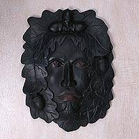 Wood mask, 'Jaka Tarub Legend' - Hand-Carved Wood Wall Mask of Jaka Tarub Face and Leaves