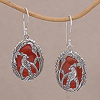 Carnelian dangle earrings, 'Cockatoo Garden' - Carnelian and 925 Silver Cockatoo Dangle Earrings from Bali