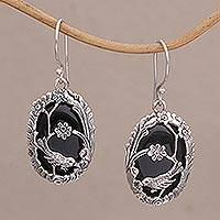 Onyx dangle earrings, 'Curious Bird' - Onyx and 925 Silver Bird-Themed Dangle Earrings from Bali