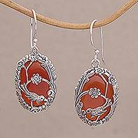 Carnelian dangle earrings, 'Avian Curiosity' - Carnelian and 925 Silver Bird Dangle Earrings from Bali