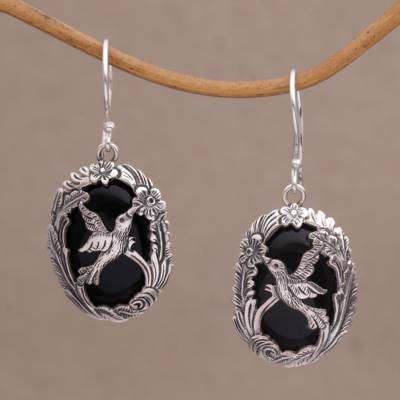 Onyx dangle earrings, 'Nature's Freedom' - Onyx and 925 Silver Bird-Themed Dangle Earrings from Bali