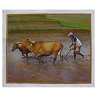 'There are Still Rice Paddies in Bali' (2007) - Original Painting of a Traditional Balinese Rice Farmer