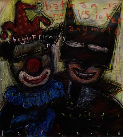 Signed Batman and Joker Modern Painting from Bali