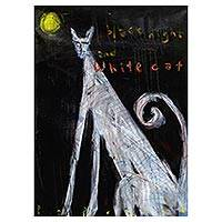 'Black Night and White Cat' - Signed Modern Painting of a White Cat from Bali