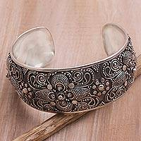 Featured review for Sterling silver cuff bracelet, Temple Blossoms