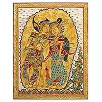 Kamasan painting, 'Kamajaya and Kamaratih' - Signed Cultural Hindu Kamasan Painting from Bali