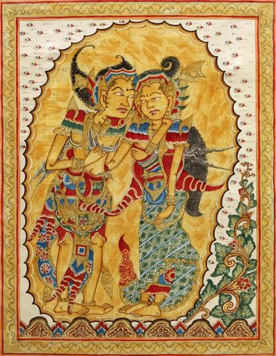 Signed Cultural Hindu Kamasan Painting from Bali