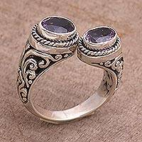 Amethyst wrap ring, 'Dreamy Gaze' - Amethyst Purple Gem on 925 Sterling Silver Wrap Ring