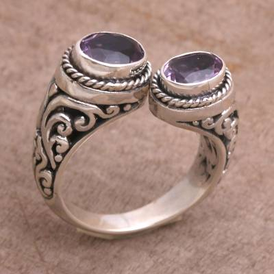 Amethyst Purple Gem on 925 Sterling Silver Wrap Ring