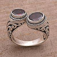Garnet wrap ring, 'Garden Gaze' - Garnet and Sterling Silver Wrap Ring from Bali