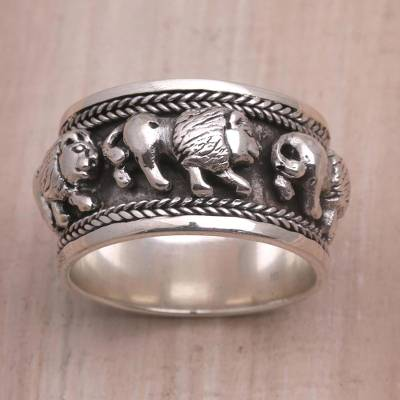 silver ring id skyrim - Sterling Silver Lion Motif Band Ring from Bali